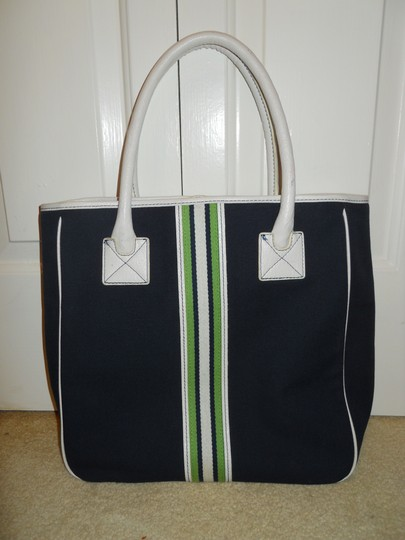Ann Taylor LOFT Tote in navy, white & green Image 2
