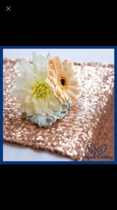 Lot Of 10 Sequin Rose Gold Table Runners