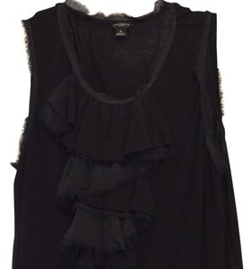 Ann Taylor Stretch Ruffles Top Black