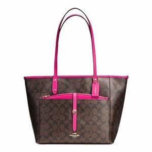 Coach Tote in Brown Pink Ruby
