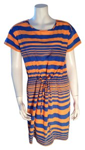 Gap short dress Blue, Orange Striped Size Small Summer on Tradesy