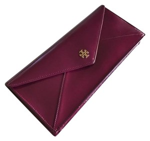 Tory Burch Red Gold Raspberry Clutch