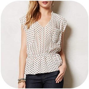 Anthropologie Top White/Red/Blue