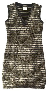 Chanel Logo Sparkle V-neck Dress