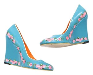 Irregular Choice Dutch-inspired Floral Slim Quirky Blue Wedges