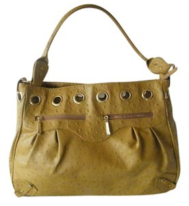 Vecceli Italy Faux Leather Peacock Embossed Satchel in Gold/Mustard
