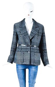 Chanel 00a Black Wool Tweed Patterned Belted Sweater Gray Jacket
