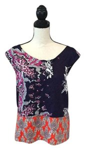 Anthropologie Top Navy Blue/White/Orange/Fuschia