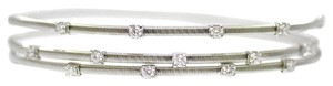 14K White Gold 0.63 Ct Diamond Twirl Bangle Bracelet 12.3 Grams