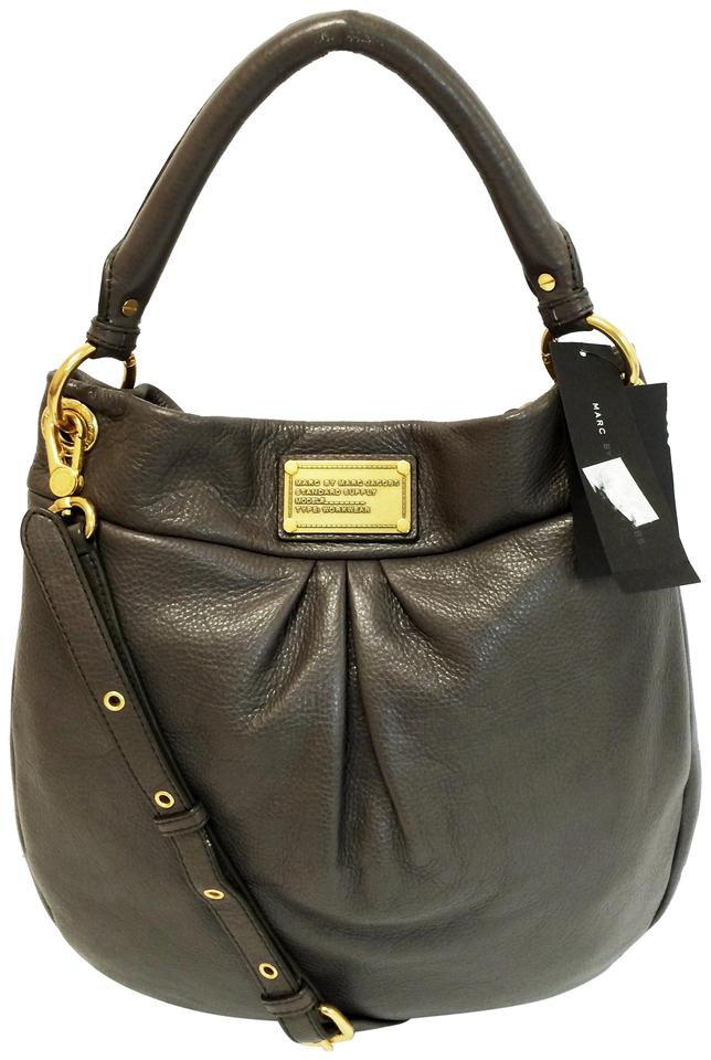 fcf3ad76e5c Marc by Marc Jacobs Classic Q Hillier Gray Faded Aluminum Leather Hobo Bag