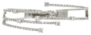 14K White Gold 2.20Ct Diamond Bangle Bracelet 21 Grams