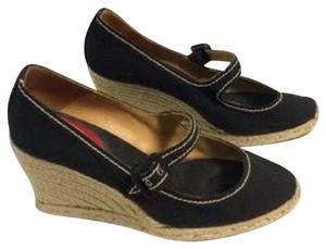 Christian Louboutin Espadrilles Designer Mary Jane Black and Beige Wedges