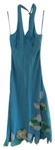BCBGMAXAZRIA Bcbg Halter Flowers Turquoise Dress
