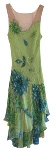BCBGMAXAZRIA Bcbg Illusion Lime Sequins Dress