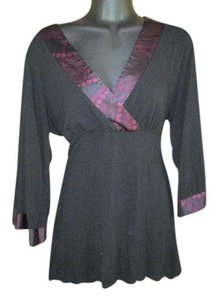 INC International Concepts Knit Stretchy Fall Autumn Winter Top Black & Purple