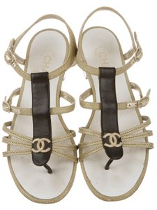 Chanel Interlocking Cc Embellished Gold, Black Sandals