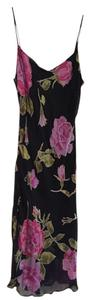 Betsey Johnson Black Pink Flowers Spagetti Straps Dress