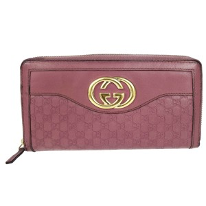 Gucci GG Pattern Long Zippy Bifold Wallet Purse Leather Pink Italy clutch