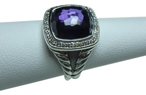 David Yurman 11mm Albion Ring with Black Orchid and Diamonds size 8