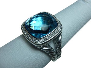 David Yurman 11mm Albion Ring with Blue Topaz and Diamonds size 7, with pouch