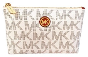 Michael Kors Fulton Travel Vanilla White Clutch