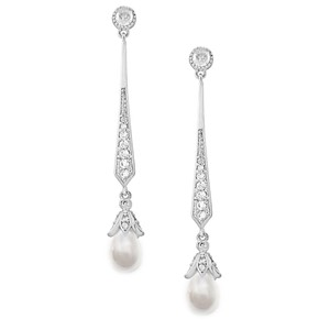Vintage Look Cz And Pearl Drop Wedding Earrings