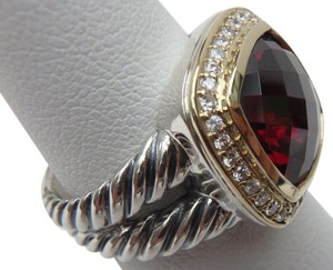 David Yurman 11mm Albion Ring with Garnet and Diamonds with 18K Gold size 8