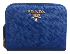 Prada PRADA Saffiano Metal Coin Purse BLUETTE