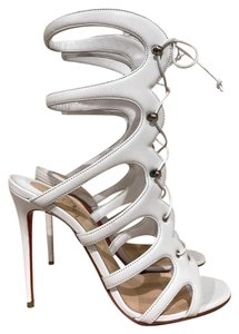 Christian Louboutin Amazoulo Stiletto Gladiator Lace Leather white Pumps