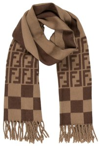 Fendi Brown, black Fendi Zucca monogram wool long wide scarf