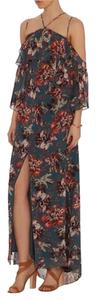 Blue Floral Maxi Dress by INTERMIX Open Shoulder Maxi