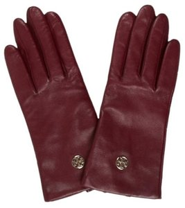 Tory Burch Red leather Tory Burch gold-tone Reva logo gloves 8