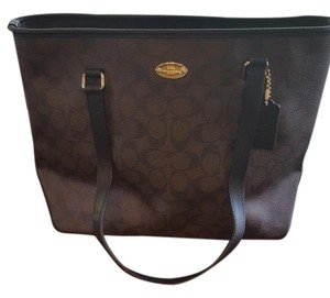 Coach Monogram Tote in Brown and Black