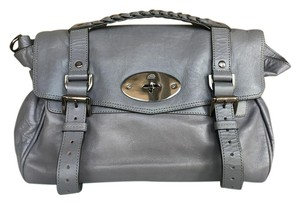 Mulberry Leather Satchel in Dark Gray