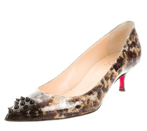 Christian Louboutin Geo Spike Pointed Toe Marbled Patent Leather Brown, Black Pumps