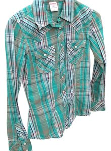 True Religion Button Down Shirt Green ans plaid