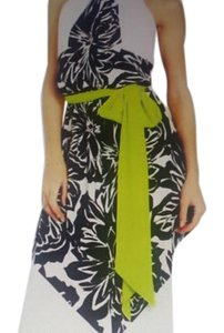 white w/black floral and neon green sash belt Maxi Dress by Vince Camuto Vince