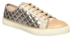 Tory Burch Leather Sporty Quilted Metallic Comfortable Metallic Gold Athletic