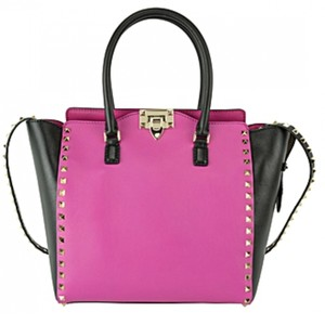 Valentino Rockstud Handbag Studded Handbag New With Tags Studded Tote in Black & Fuchsia