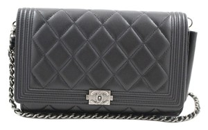 Chanel Boy Clutch Wallet On Chain Black Leather Shoulder Bag