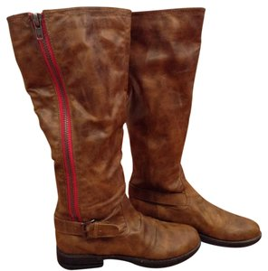 Zandora Riding Wide-calf Vegan Man-made Saddle Brown Tan Boots