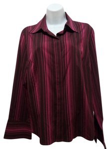 Anne Klein Bell Sleeves Long Sleeves Striped Button Down Shirt red, black, dark red, dark red and black