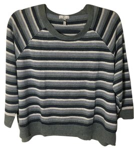 Joie Striped Linen Teal Grey Ivory Sweater