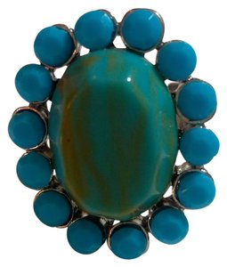 Other New Turquoise & Silver Tone Adjustable Statement Ring J3051