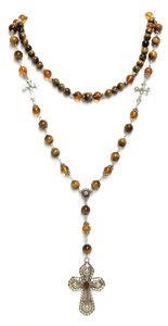 Kinley Sterling silver Rosary Cross Tiger's Eye Kinley Necklace