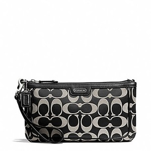 Coach F51111 51111 Large Wristlet in Black/White