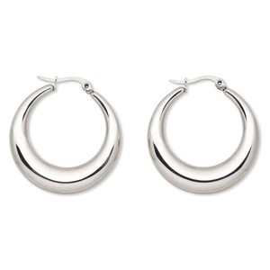 Surgical Stainless Steel Puffed Hoop Earrings 34mm