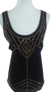 Nicole Miller Embellished Gold Top Black