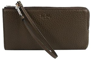 Coach Coach 51981 Olive Fatigue Pebbled Leather Zippy Wristlet Wallet