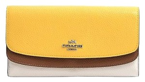 Coach Coach 53858 Canary Saddle Double Flap Pebbled Leather Wallet